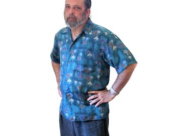 90s Men's Silk Hawaiian Shirt, Teal Sand Washed Silk Shirt, Vintage Palm Tree Shirt, M L