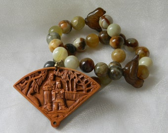 Netsuke fan shaped wood pendant w jade flower beads necklace , beaded jewelry , Japanese Boxwood Netsuke , jade bird , jade necklace , bead