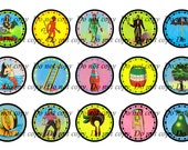"INST-D  Loteria - 1"" Circles Bottlecap Digital Images - Sheet of 4x6 - You Print - ( Mexican Bingo )"