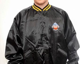 Vintage 90s NCAA Basketball Jacket  / Final Four Denver / Nylon Varsity Jacket / Made in USA / Size XL