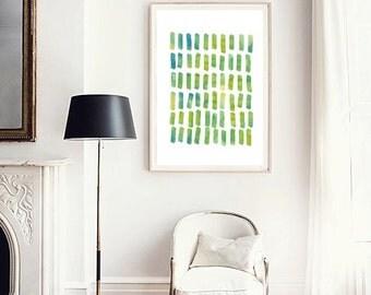 Watercolor painting, Abstract watercolor, Abstract art print, Green wall art, Geometric watercolor, Modern art print, Minimalist art poster