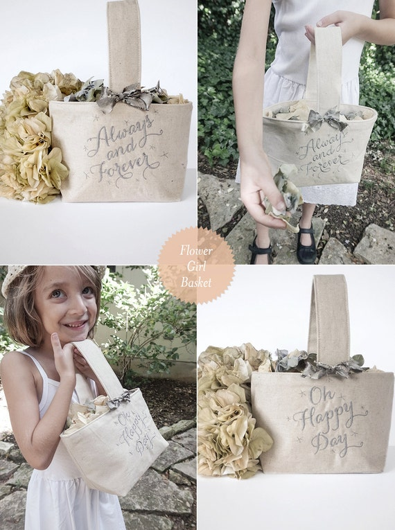 Heirloom Linen Flower Girl Basket with Embroidery and Stars