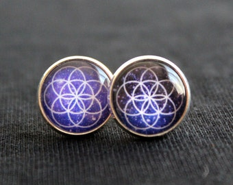 Seed of Life stud earrings - Galaxy Earrings - Sacred Geometry earrings - Purple Nebula - Seed of Life Jewelry-Festival Wear-Hippie Earrings