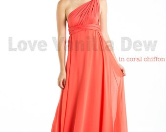 Bridesmaid Dress Infinity Dress Coral with Chiffon Overlay Floor Length Maxi Wrap Convertible Dress Wedding Dress