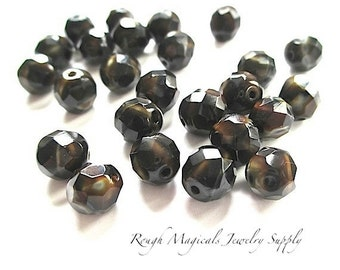 Czech Glass Fire Polish Brown Tiger Eye Beads 8mm Faceted - 25 Pieces