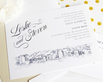 Salt Lake City Skyline Hand Drawn LDS Wedding Invitation Package (Sold in Sets of 10 Invitations, RSVP Cards + Envelopes)