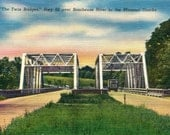 Highway / Route 66 - Antique Postcard - Bridges over Borbueuse River, Missouri