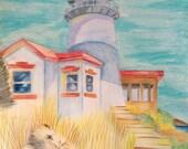 "Lighthouse Beach Watercolour Pencil Original Drawing 9"" x 12"""