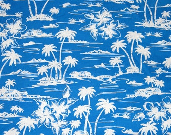 BTY TROPICAL Blue & White Island Palm Trees Print 100% Cotton Quilt Craft Shirting Fabric by the Yard