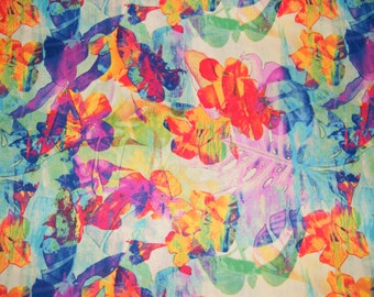 BTY ABSTRACT Leaves & Flowers Print 100% Cotton Quilt Craft Fabric by the Yard