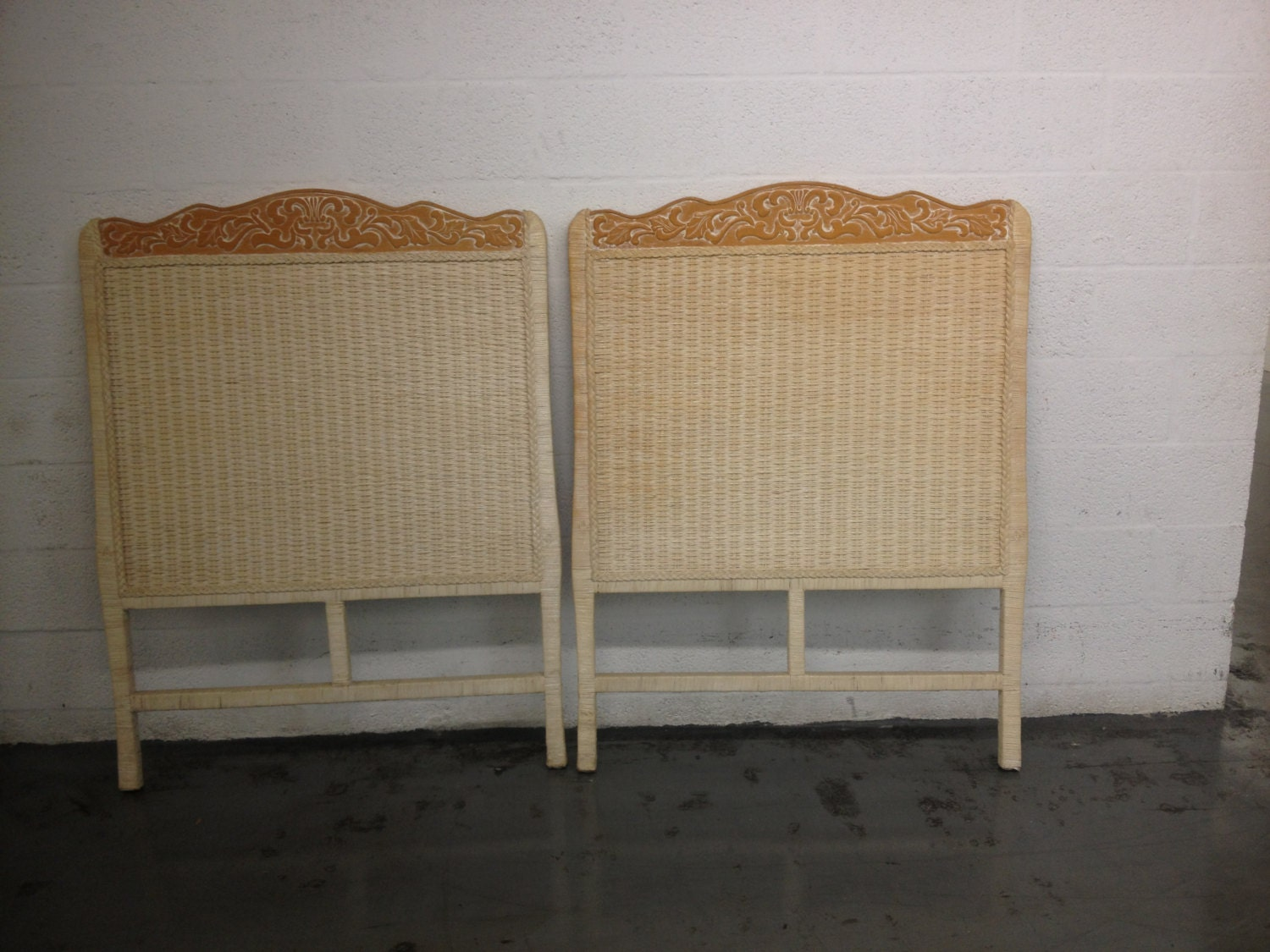 Vintage Pair Headboard Wicker Carving Wood White Distress Or Shabby Chic C
