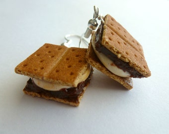 S'mores Earrings Miniature Food Jewelry Camping Gift Polymer Clay S'mores