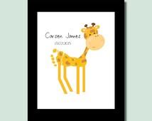 Baby boy nursery decor, safari nursery wall art, baby boy gift, jungle nursery print, baby footprint giraffe, nursery wall art