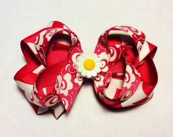 Pink/White Flower Bow