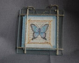 Butterfly Cross stitch under Glass