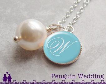 Monogram Necklace, Charm Necklace, Pearl Necklace, Initial Necklace, Mother Necklace, Mother Jewelry, Name Necklace, Mom Gift PN006