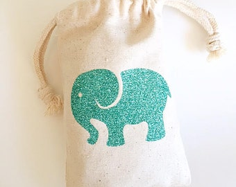 Party favor bags- Favor bags- Glitter elephant party favor bags- Baby shower favor bags