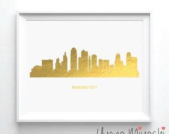 Kansas City Skyline Gold Foil Print, Gold Print, Map Custom Print in Gold, Illustration Art Print, Kansas City Skyline Gold Foil Art Print