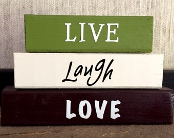 LIVE LAUGH LOVE wood blocks stacking block set office decor inspirational word blocks for home decor