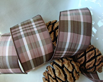 Chocolate Brown and Mocha Plaid Wired Ribbon