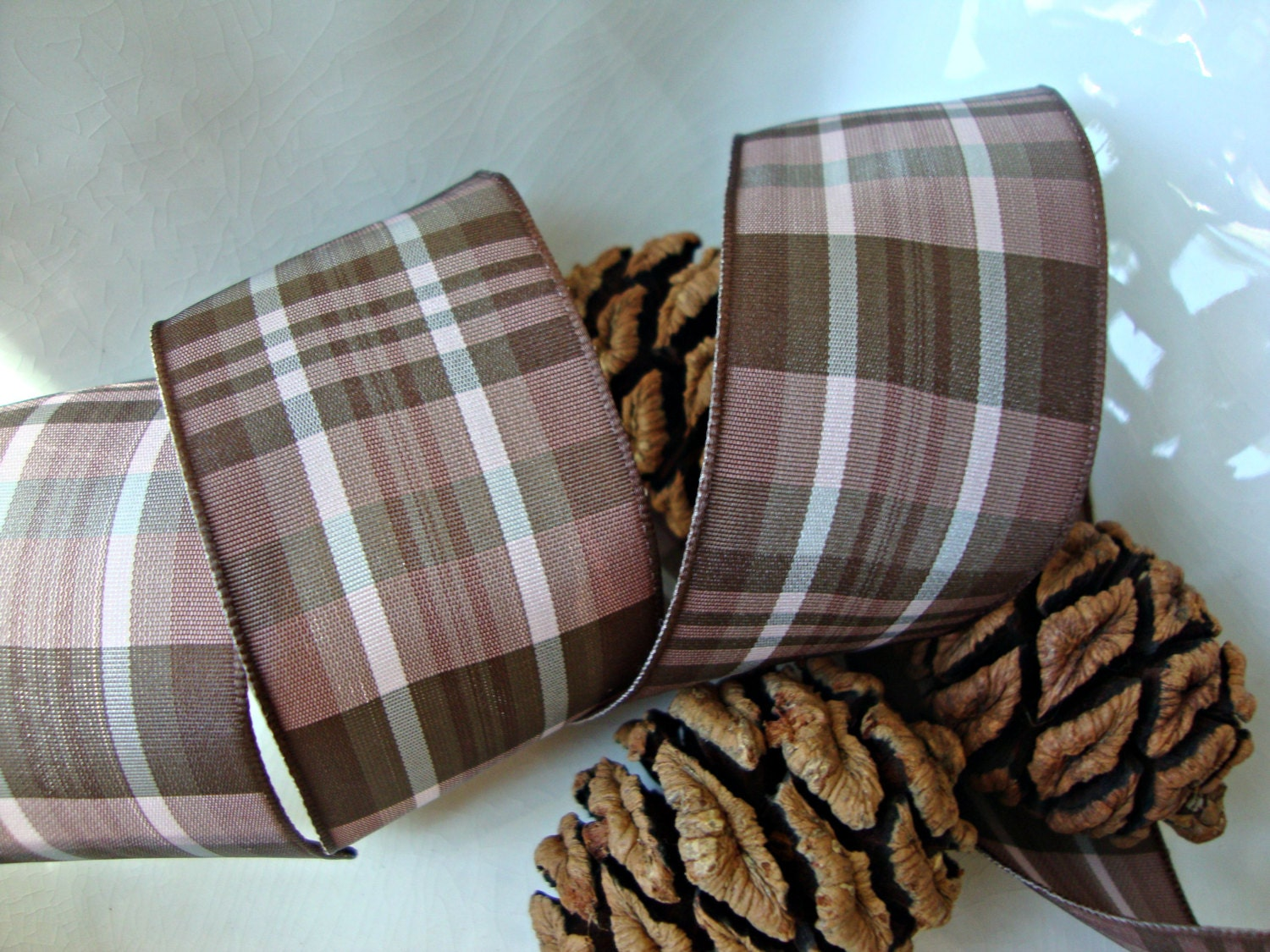 chocolate brown and mocha plaid wired ribbon from