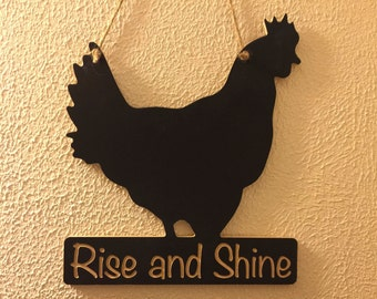 Engraved Rooster Shaped Chalkboard