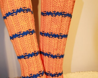 SALE 30% !!! NY Knicks inspired Hand Knit Leg Warmers Boot Cuffs Buffalo to Chicago Sport Colors Handmade Leggins by IrinaKdesigns