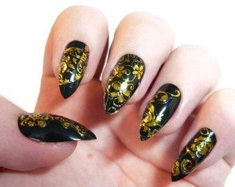 Black Stiletto nails Fake nails, False nails, Artificial nails, Acrylic nails, Custom nail set, Press on nails,Glue on nails, Fashion Nails.