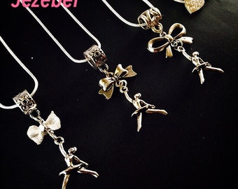 Jezebel Ballet Dancer Aerial Dance Necklace with Bow Charm