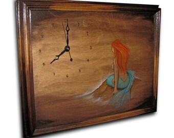 Clock, Mermaid Clock, handmade unique clock, wood wall clock