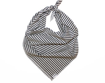 Monochrome- Black and White Stripe Dog Bandana, Neckerchief