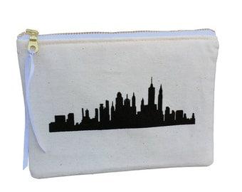 NYC skyline, New York print, Zip Pouch, Zipper Purse, New york pouch, city print, skyscrapers, NY city, makeup bag, pencil case, clutch