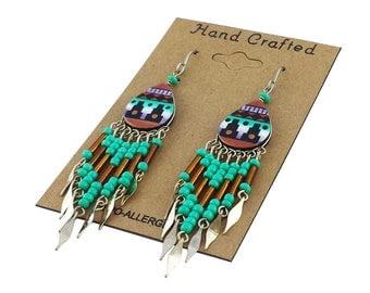 Hand Painted Dangling Beaded Southwestern Earrings