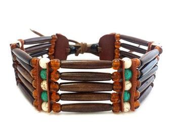 Handmade Traditional 5 Row Buffalo Bone Hairpipe Beads Tribal Choker Necklace