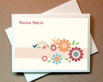 Flowers Personalized Note Cards (25 cards and envelopes)