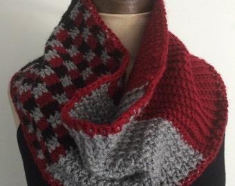 Crochet Patchwork Infinity Scarf/Cowl/Neckwarmer - FREE U.S. SHIPPING