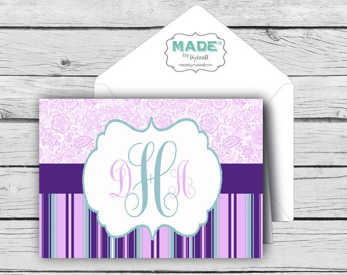 Script MONOGRAM Purple & Teal NOTE CARD Set 3, Made-to-Match Cards, Birthday, Printed Thank You Cards