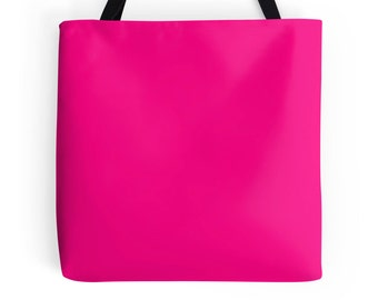 Hot Pink Tote Bag, Hot Pink Bag, Pink Purse, Pink Tote, Pink Bookbag
