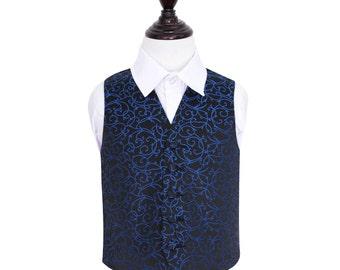 Boy's Swirl Black & Blue Wedding Waistcoat