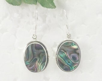 Natural ABALONE SHELL Gemstone Earrings, Birthstone Earrings, 925 Sterling Silver Earrings, Fashion Handmade Earrings, Dangle Earrings