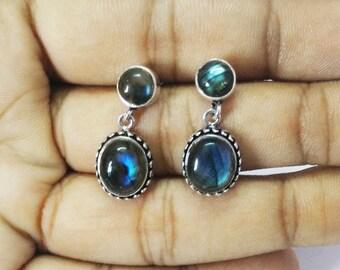 Natural FIRE LABRADORITE Gemstone Earrings, Birthstone Earrings, 925 Sterling Silver Earrings, Fashion Handmade Earrings, Drop Earrings