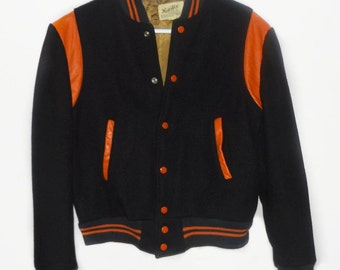 Vintage 1960s varsity jacket in navy blue and orange, size small