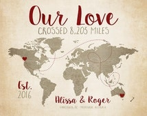 Long Distance Relationship, Personalized World Map, Miles, Kilometers, World Travelers, Deployment, Distressed Map, Brown, Red, Christmas
