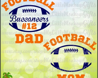 Split Football Mom Football Dad Design, Personalize with Team Name & Number Full Color Digital File Jpeg Png SVG EPS DXF Instant Download