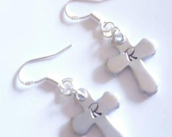 Personalised letter cross earrings
