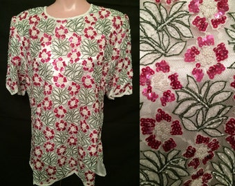 White blouse with pink flowers # 156