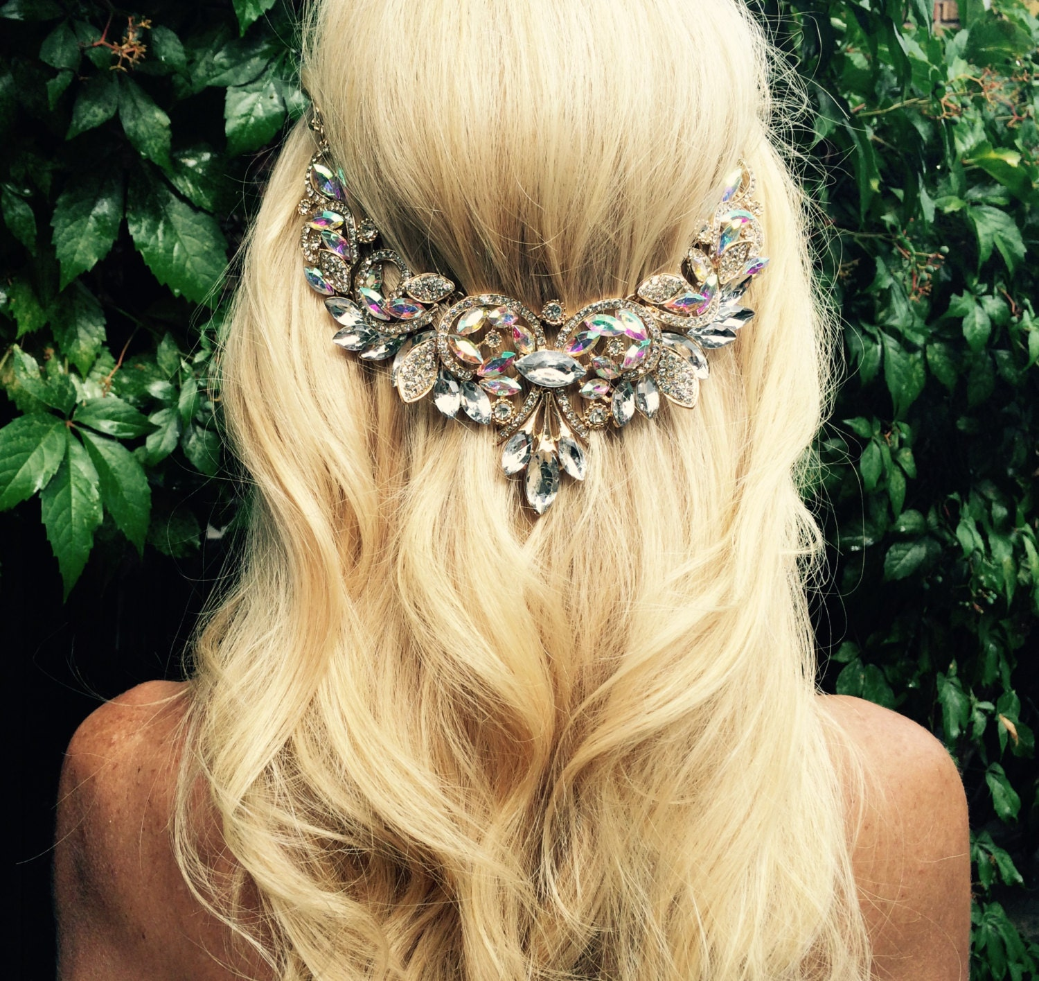 Wedding Hairstyles With Jewels: Wedding Hair Jewelry Hair Chain Accessory By BellaViaDesigns