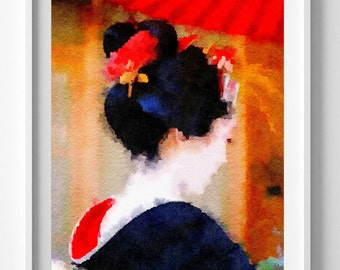 Japanese Kimono,Art Print,Painting,Watercolor,Borderless, 2 Sizes Available,Pic no 40