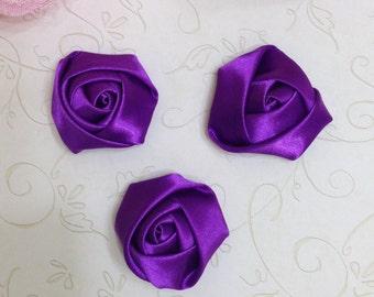 "Purple Satin Rolled Rosette Set of 3 - 1.5"" Purple Satin Rosette - Satin Rolled Rosette - Petite Rosette -Purple Rosette-Purple Rosette Buds"