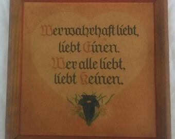 Framed German handpainted sentiment